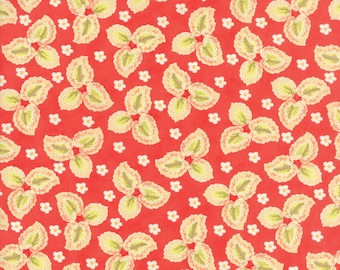 Fig Tree Fabric Red Hazel and Plum Fabric - Red Floral Leaf Quilt Fabric By The 1/2 Yard