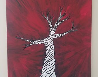 Crazy Tree Acrylic Painting