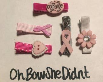 Breast cancer awareness pink ribbon hair clip barrettes