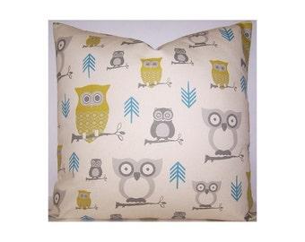 Owl Pillow Cover Zipper Closure Hooty Owl Pillow Cover Decorative Throw Pillow 12x16,16x16, 18x18, 20x20