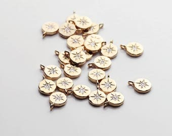 2PCS Gold Dainty Compass Charm With Cubic Zirconia Crystals 2PDC-G