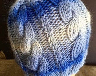 Slouchy Cabled Ombre Blues Beanie