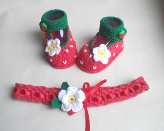 strawberry baby, booties and headband, red strawberry booties, baby shower gift, baby photoprop, Strawberry Shoes, fotoshoot clothes girl
