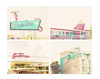 Wildwood NJ Art, Wildwood NJ canvas, Doo-Wap Motel photographs, beach decor, set of 4, vintage style photos, beach house decor, jersey shore