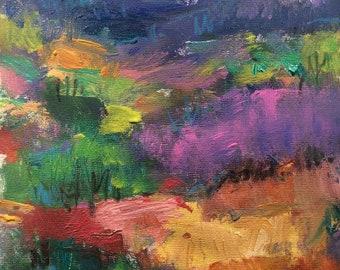 Impressionist  landscape painting, woodlands and fields   Russ Potak Artist