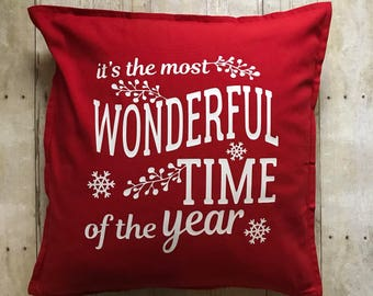 It's the most wonderful time of the year- wonderful time of the year- christmas pillow- christmas decoration- christmas decor- red pillow