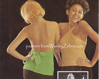 knit knitable Halter tops  Vintage Knit Pattern PDF 922 from WonkyZebra