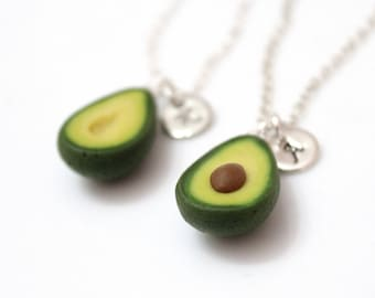 Avocado Necklaces, BFF Necklaces, Best Friend Necklaces, Childrens Personalized Necklace, Bff Jewelry, Food Jewellery, Set of Two