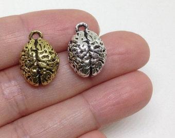 6pcs Human Brain Charm, Brain charm, Human Organ, Pewter Charms