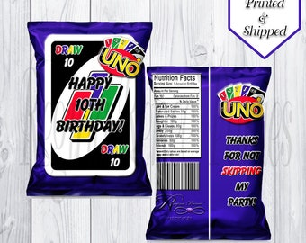 UNO Theme Custom Chip/Snack Bags - UNO Birthday Party - UNO Cards - Chip Bags - Digital - Printable - Printed - Treat Bags - Snack Bag