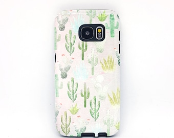 For Floral Samsung galaxy s5 case, for Samsung galaxy s8 case, for Samsung s6 case, for samsung s7, for galaxy s8 case - Succulent Cactus