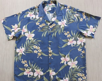 Mens Hawaiian Shirt TWO PALMS Tourist Trippy Tropical Orchid Aloha Shirt Cool Floral Print Hawaii Camp Shirt - 2XL - Oahu Lew's Shirt Shack