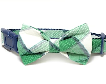 Green and White Plaid Dog Collar Bow Tie set, pet bow tie, collar bow tie, wedding bow tie, pet photography