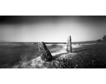 Remains of a Pier Pinhole Black and White Photograph - 8.5x17 print in a 18x24 Wood or Metal Frame