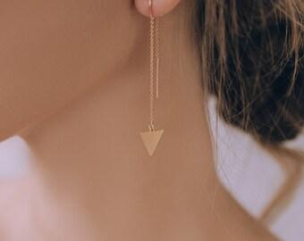 Gold Earrings, U-Threader Earrings, Geometric Earrings, Dangle Earrings, Triangle Earrings, Gift for Her, Minimalist Jewelry, Wholesale