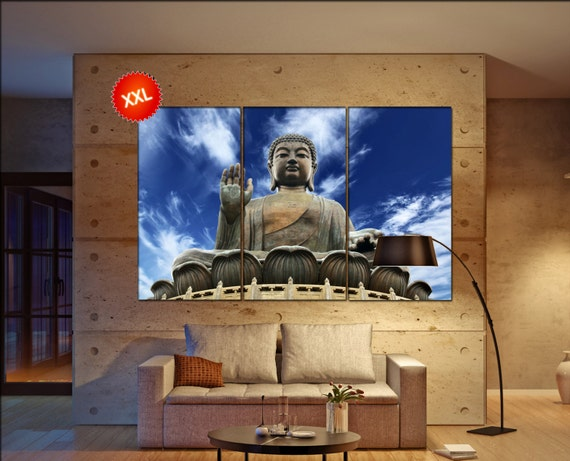 Buddha  print  on canvas wall art Giant Buddha sitting on lotusl photo art work framed art artwork