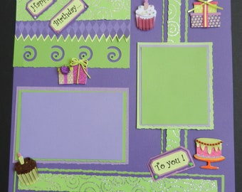 Happy Birthday To You 12x12 Premade Scrapbook Page Scrapbook Pages Scrapbooking