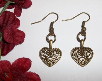Heart Earrings Costume Jewelry Christmas Valentine Day Anniversary Birthday Bridesmaid Love Her Gift Idea Bronze Present Pierced wvluckygirl