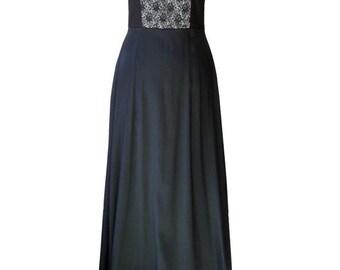 SALE - Black Corset Maxi Dress, Evevning Dress, Plus Size Evening Dress, Black Corset Gown, Black Lace, Designers Maxi Dress