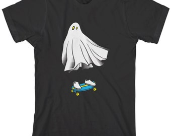 Ghost Skateboarder Men's T-shirt Funny Halloween Skater Phantom Haunted Boo Spirit Skateboard Rider - TA_00240
