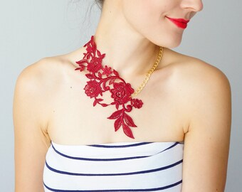 Burgundy Statement Necklace/ LASATA