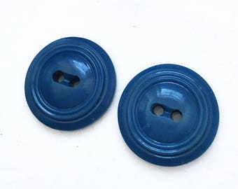 sapphire blue vintage nos buttons with ribbed edges--matching lot of 2