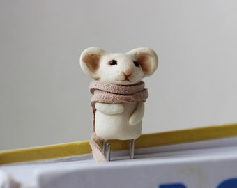 Forest Animal Bookmark supplies supplies Back to school Mouse Children's ideas kids gift Book unique Miniature cute clay Animal Lovers scarf