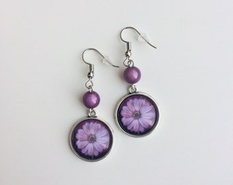 Purple flower cabochons and beads purple Silver earrings