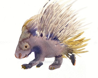 Porcupine - Baby - Animal Art - 8x10in - Watercolor  Painting - Nursery Art Print