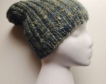Knit hat/Slouchy hat/hand knit slouchy hat/hand spun yarn/merino wool tussah silk blend yarn/winter hat