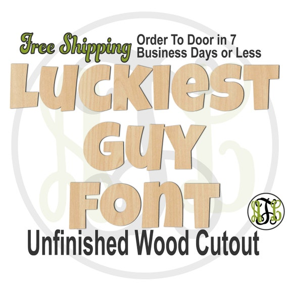 Luckiest Guy Font Name / Word / Phrase- Block Alphabet Cutout, unfinished, wood cutout, wood craft, laser cut wood, wood cut out, wooden