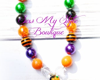 Halloween Witch Chunky Bead Necklace for Girls/Teachers/Gifts for Ladies/Halloween Necklace/Costume/photo Prop/SALE