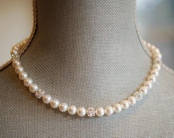 White Glass Pearl, Rhinestone Ball Necklace, Princess, Swarovski Crystal, Sterling Silver, Adjustable, Bridal