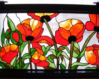 Poppy Patch - Stained Glass Window -