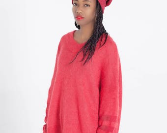 Red slouchy sweater Charity sweater Women's knitwear Off shoulder sweater Knit oversized loose Women's clothing Angora High quality Knitted
