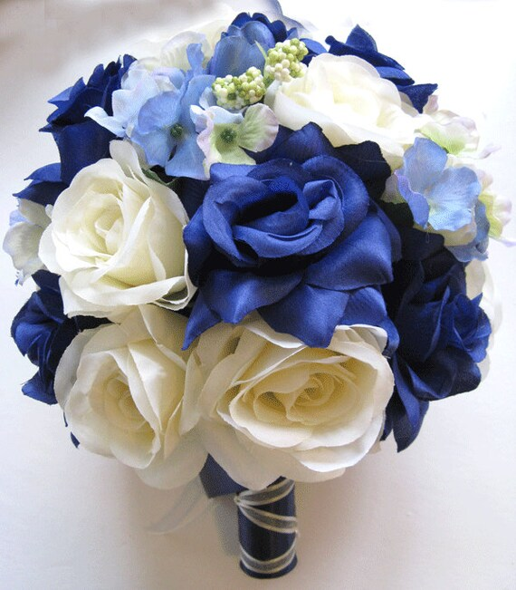 17 pcs wedding silk flower bouquet bridal package navy blue mightylinksfo