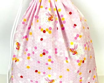 Drawstring Bag/ Library Bag - Bees