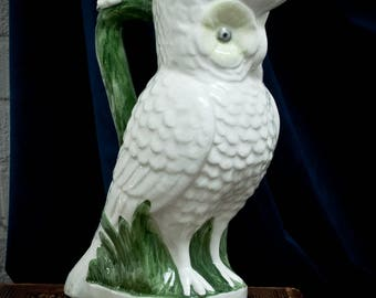 Vintage Majolica Owl Pitcher - Hand Painted - White  - Green - Quirky