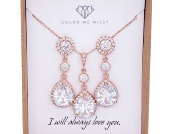 Rose gold,Bridesmaid Gift,Bridesmaid Jewelry Set,Bridesmaid Earrings,Necklace Set,Personalized Bridesmaid Gift,Wedding Jewelry Set, Luxe