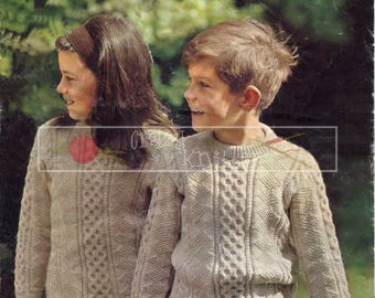Child's Cable Sweater 4-9 years 24-28in DK Patons 9595 Vintage Knitting Pattern PDF instant download