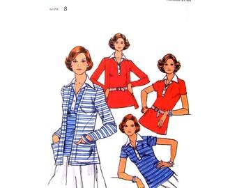 70er Jahre Cardigan & Pullover oben Butt 4665 Stretch Strick T-Shirt Kragen Damen Größe 8 Nähen Muster