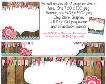 Etsy Graphics, DIY Blank Etsy and Facebook Banner Set - Valentines Love - Customize for your Store