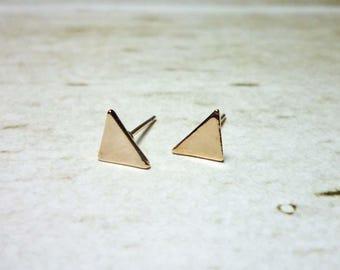 Triangle Stud Earrings, Rose Gold Triangle Earrings