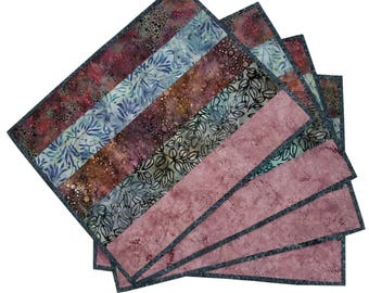 Quilted Batik Placemats in Natural Shades (set of 4)