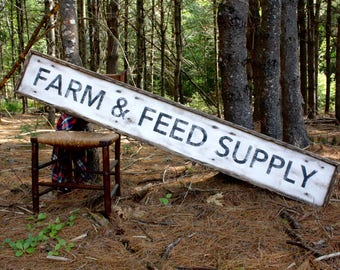 6ft Farm & Feed Supply Wood Sign Farmhouse Decor Country Decor Extra Large Sign Rustic Sign 6ft Framed Wood Sign