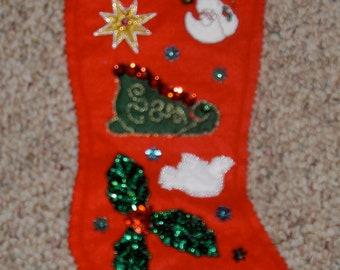 red Felt Handmade embellished Christmas Stocking One of a KInd