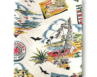 CS Shamash & Sons Patt # 105 / Aloha Novelty Fabric / Luggage Label Print / Hawaii / Mexico / Bermuda / Puerto Rico  /Beach Scenes