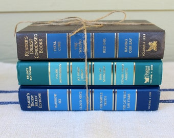 Reader's Digest Books, Set of 3 Blue Books - Shelf Decor