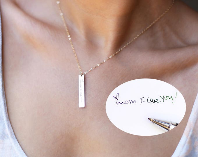Personalized Signature Jewelry // Gold Handwriting Bar Necklace// Keepsake Jewelry // Actual Handwriting Meaningful Necklace