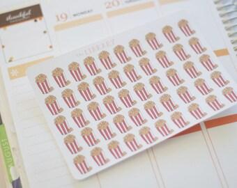 50 Popcorn Hand Drawn planner stickers, Perfect for Erin Condren, Happy Planner, Kikki K, Plum Paper, Filofax, inkwell press